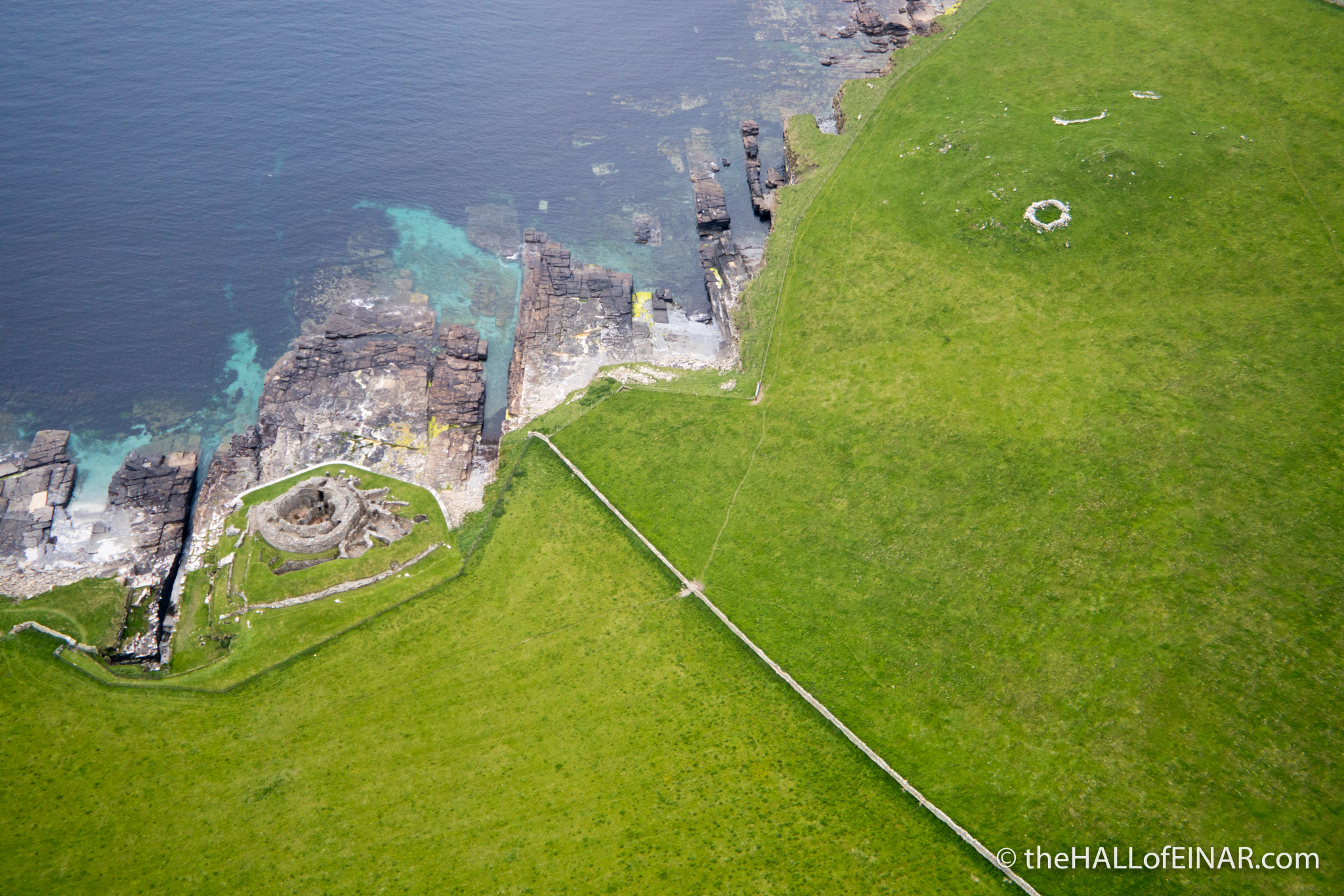 Midhowe Broch from the air - photograph (c) 2016 David Bailey (not the)