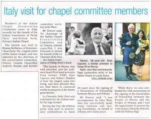 "The Orcadian - ""Italy visit for chapel committee members"""