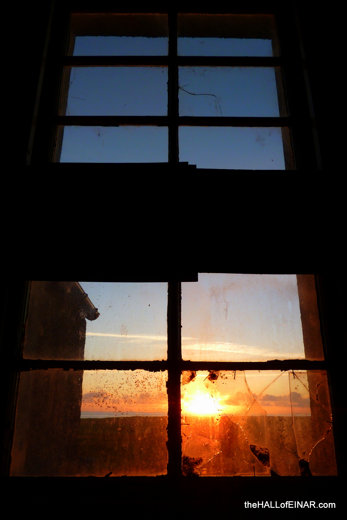 Sunrise through broken windows - photograph (c) 2016 David Bailey (not the)
