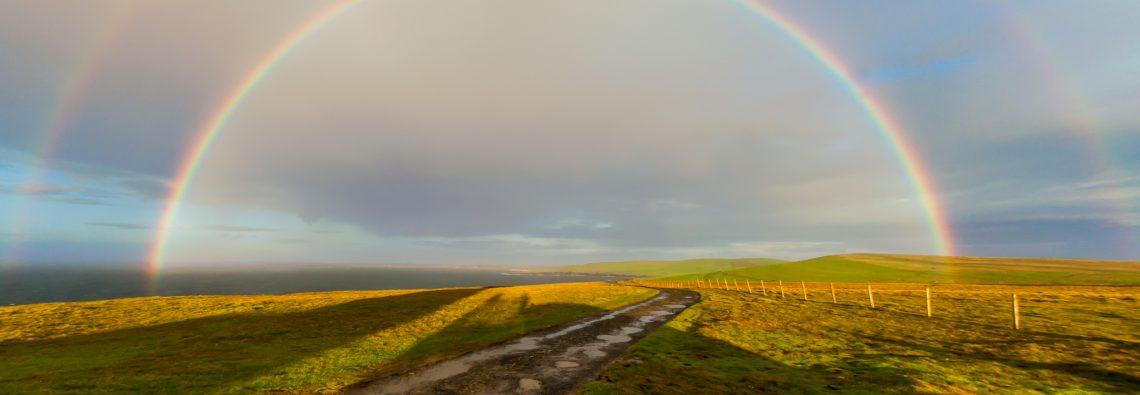 Rainbows at Noup Head - photograph (c) 2016 David Bailey (not the)
