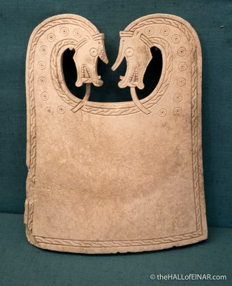 A beautiful whalebone plaque from an Orkney Viking boat burial - photograph (c) David Bailey (not the)