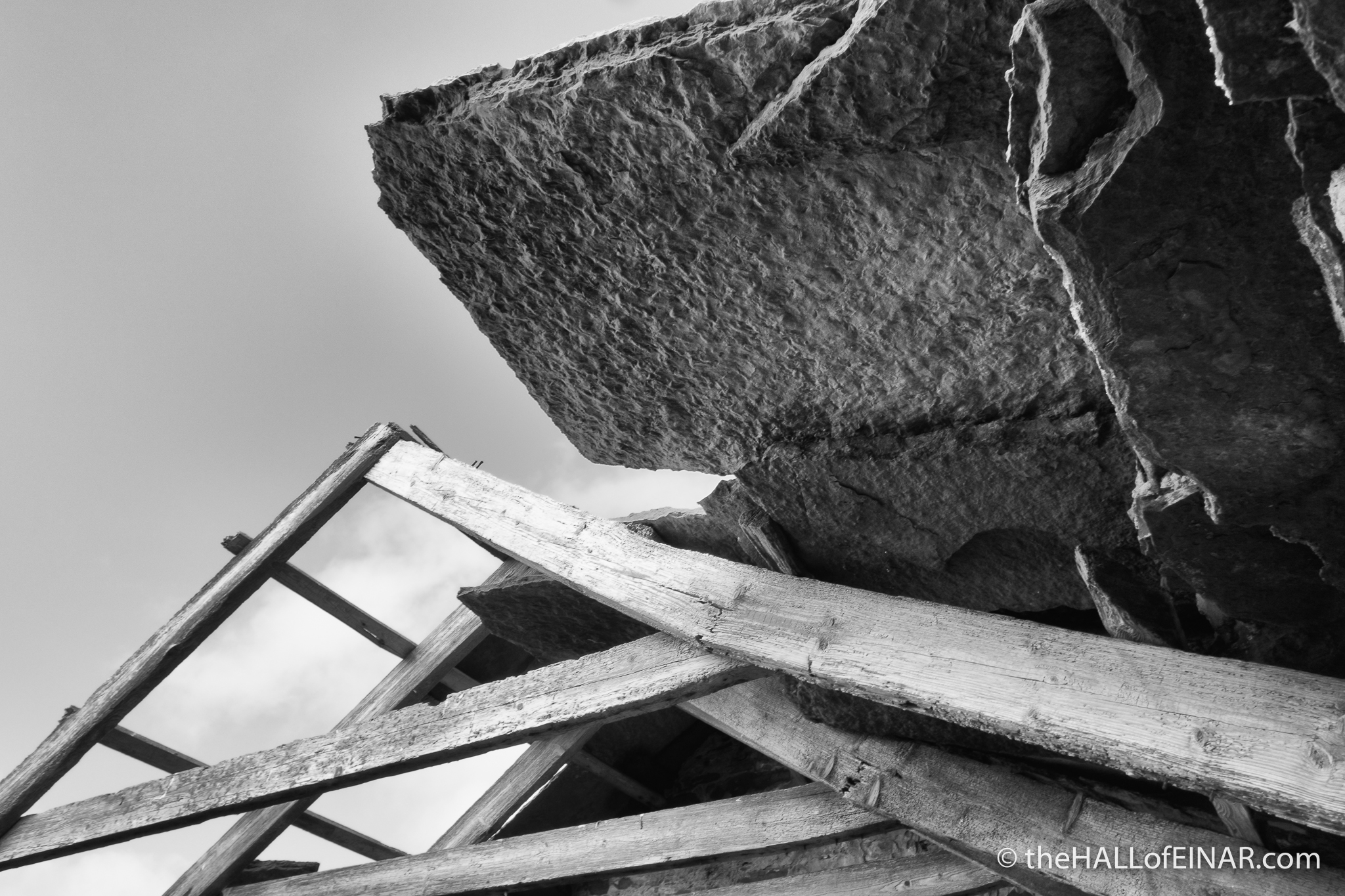 Collapsing Roof - The Hall of Einar - photograph (c) David Bailey (not the)