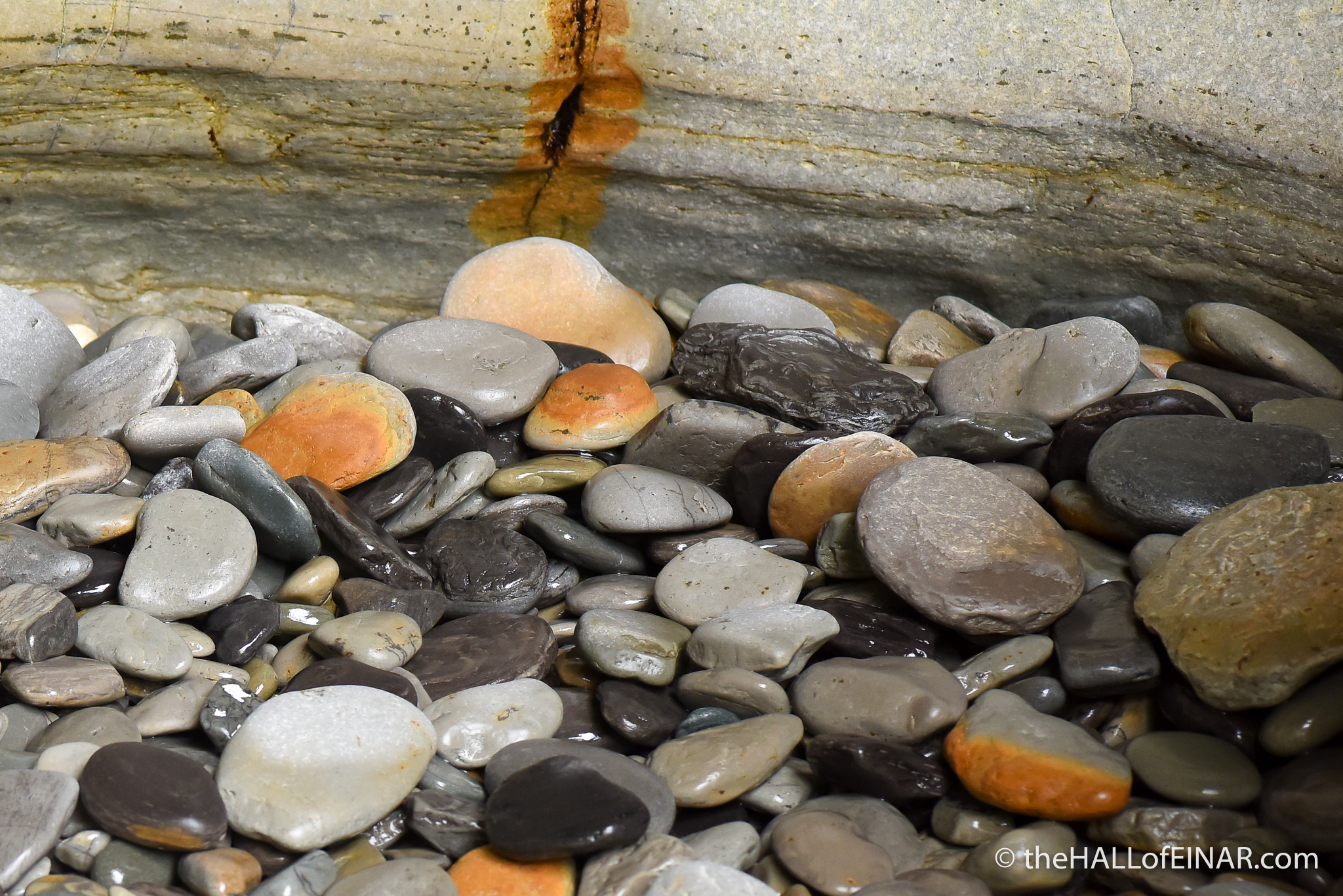 Wet Pebbles - The Hall of Einar - photograph (c) David Bailey (not the)