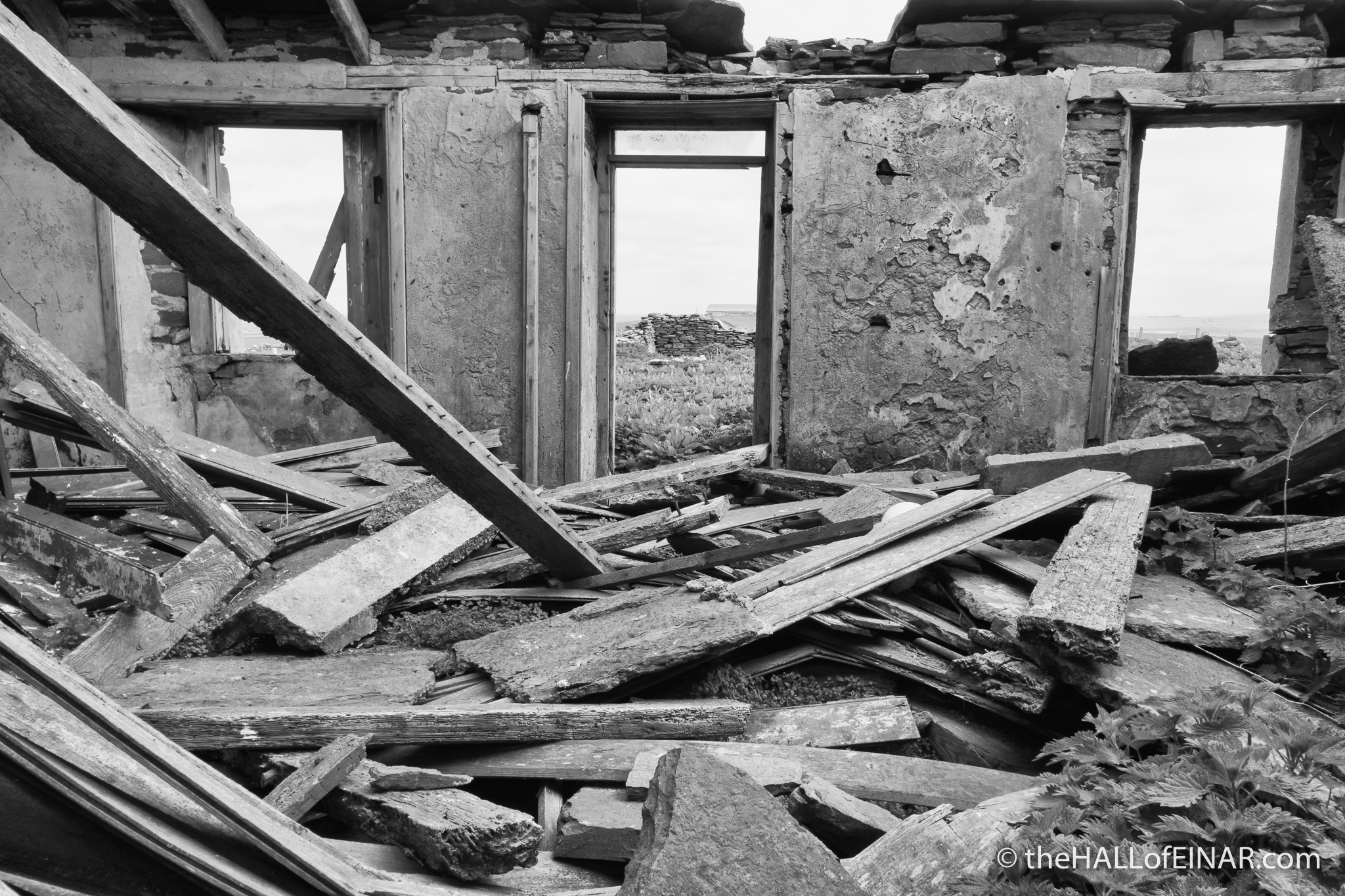 When the roof goes - The Hall of Einar - photograph (c) David Bailey (not the)