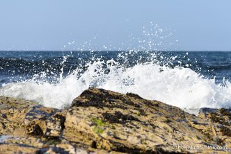 Waves crash at Grobust - photograph (c) 2016 by David Bailey (not the)