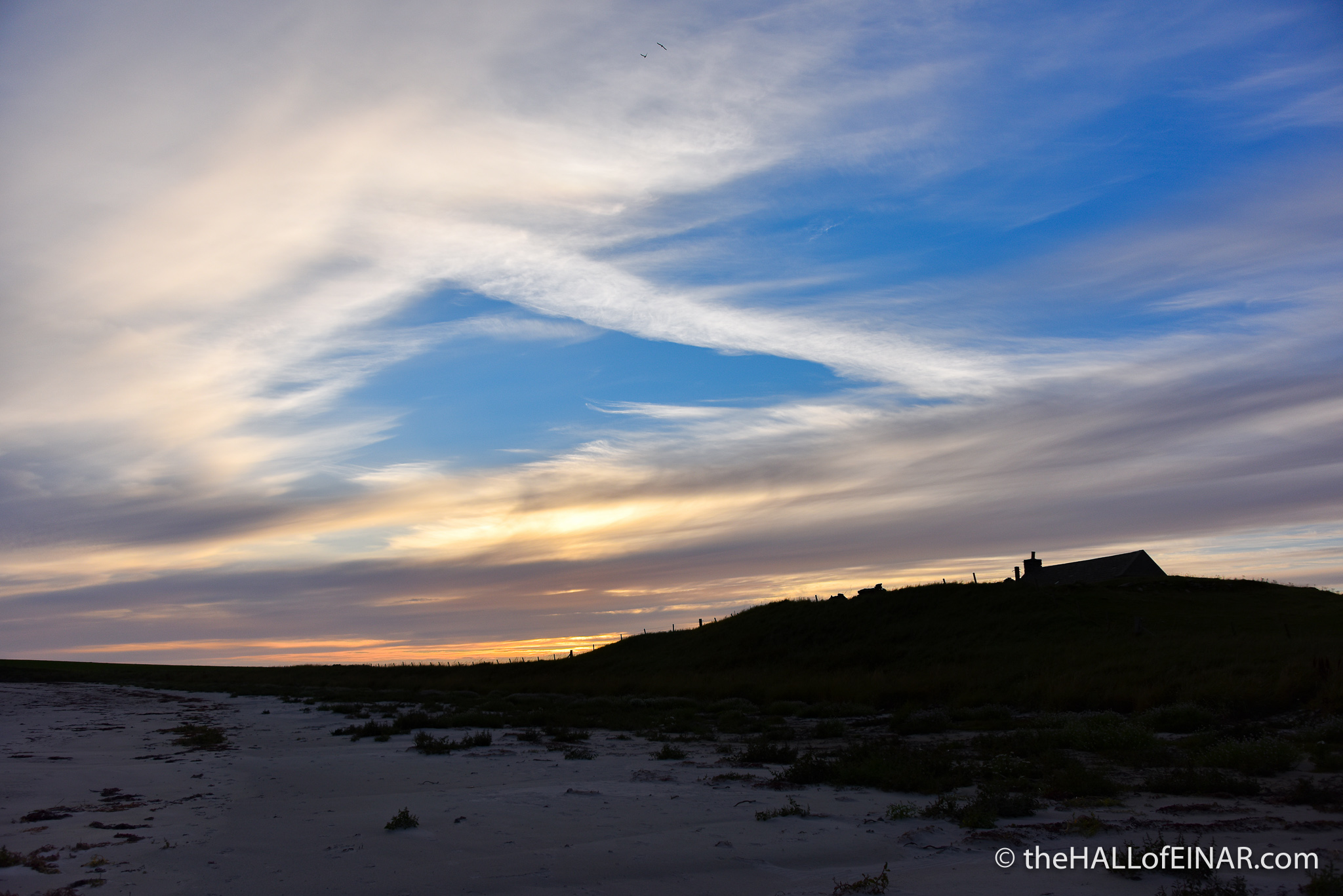 Sunset over Tafts - The Hall of Einar - photograph (c) 2016 David Bailey (not the)
