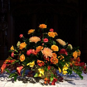 Flower Display - St Magnus Cathedral - The Hall of Einar - photograph (c) 2016 David Bailey (not the)